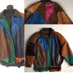 Jackets & Blazers - Vintage patchwork leather oversized coat!